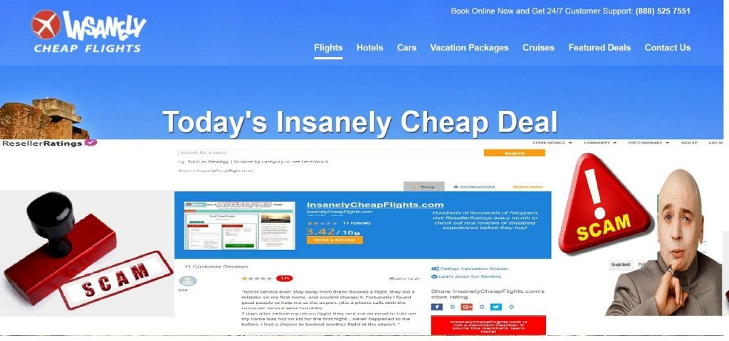 InsanelyCheapFlights_com-Rated-25-resellerratings_com-Spam-Review